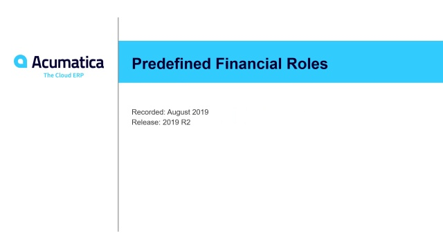 2019 R2 Predefined Financial Roles