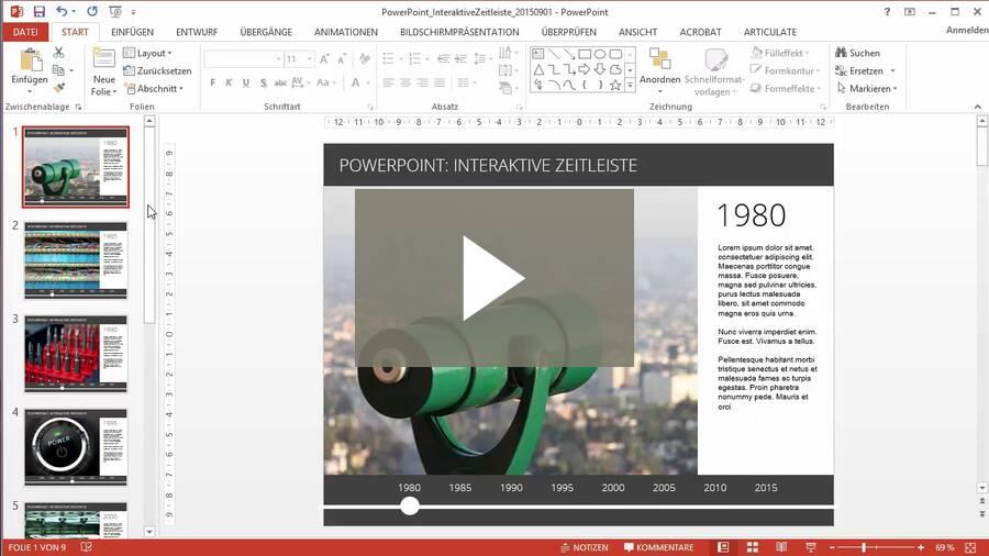 Wie erstelle ich eine interaktive Zeitleiste in PowerPoint