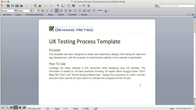 UX Testing Process Template