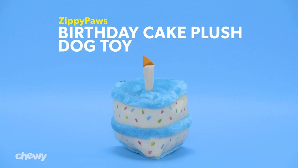 ZippyPaws Birthday Cake Plush Dog Toy Blue