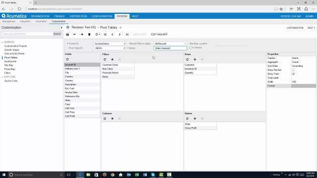 Acumatica 6: Pivot Tables in Acumatica ERP