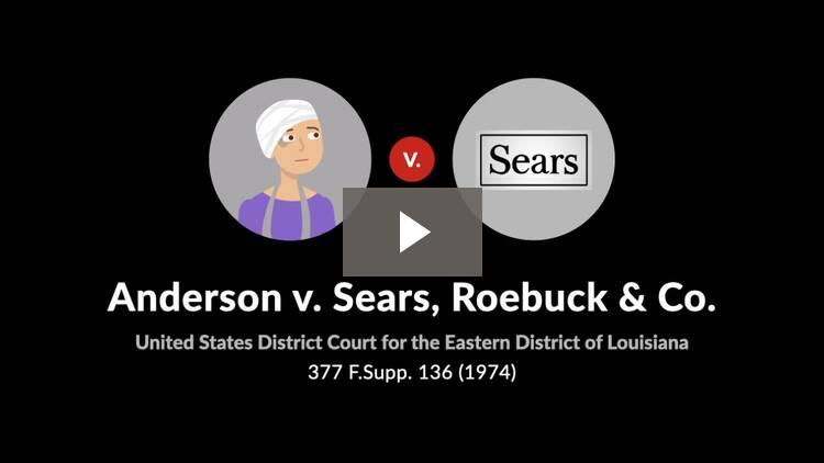 Anderson v. Sears, Roebuck & Co.