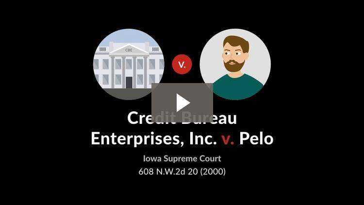Credit Bureau Enterprises, Inc. v. Pelo