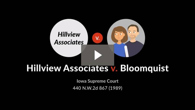 Hillview Associates v. Bloomquist