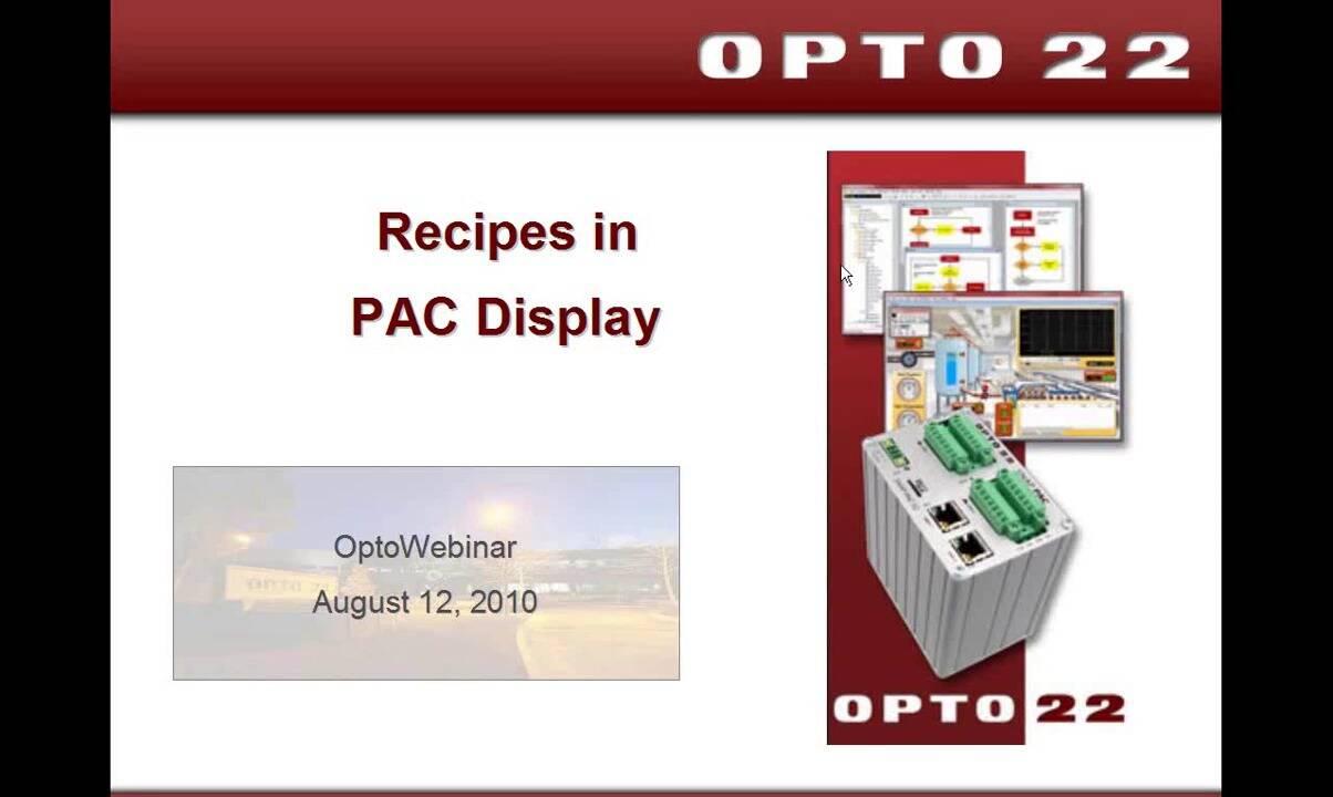 Webinar- Using Recipes in PAC Display