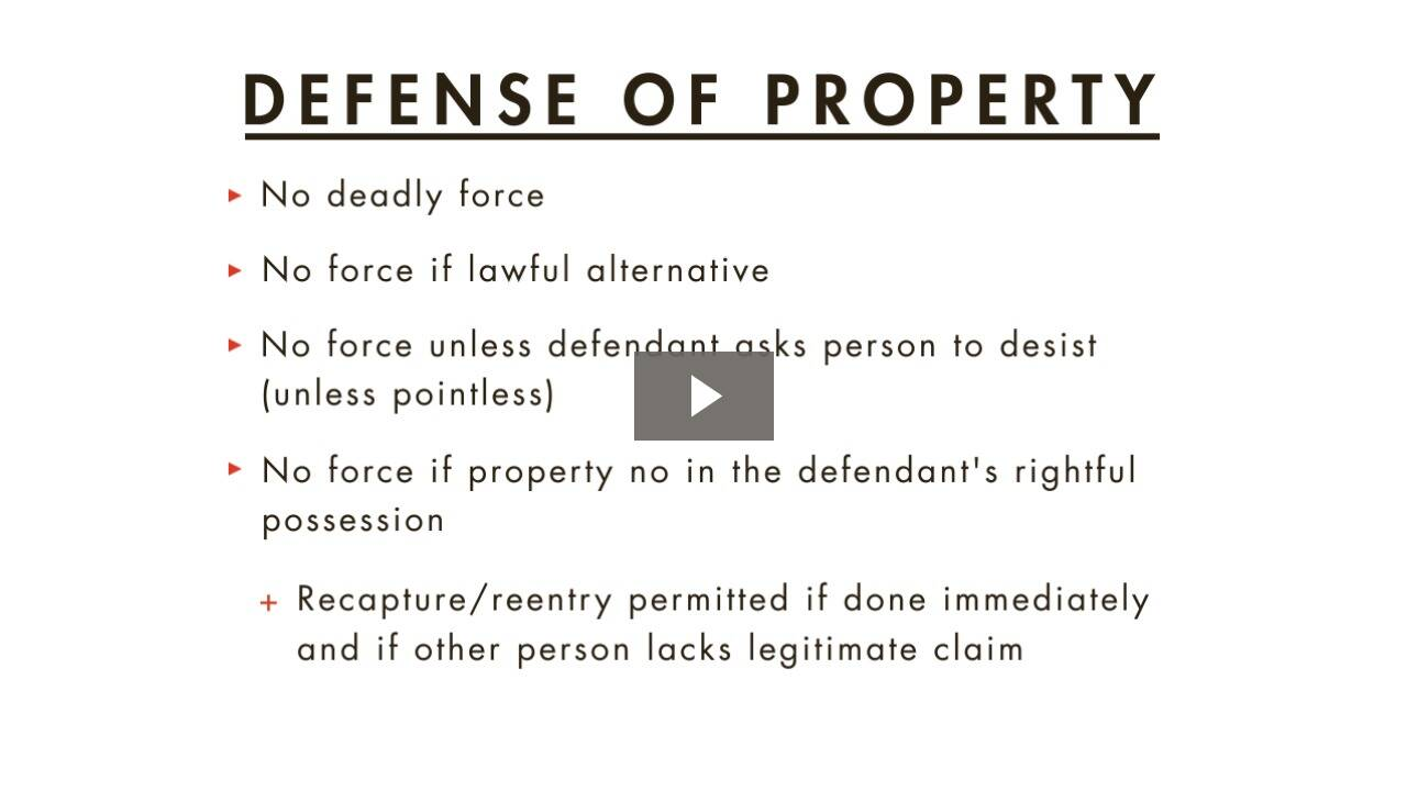 Defense of Others or Property