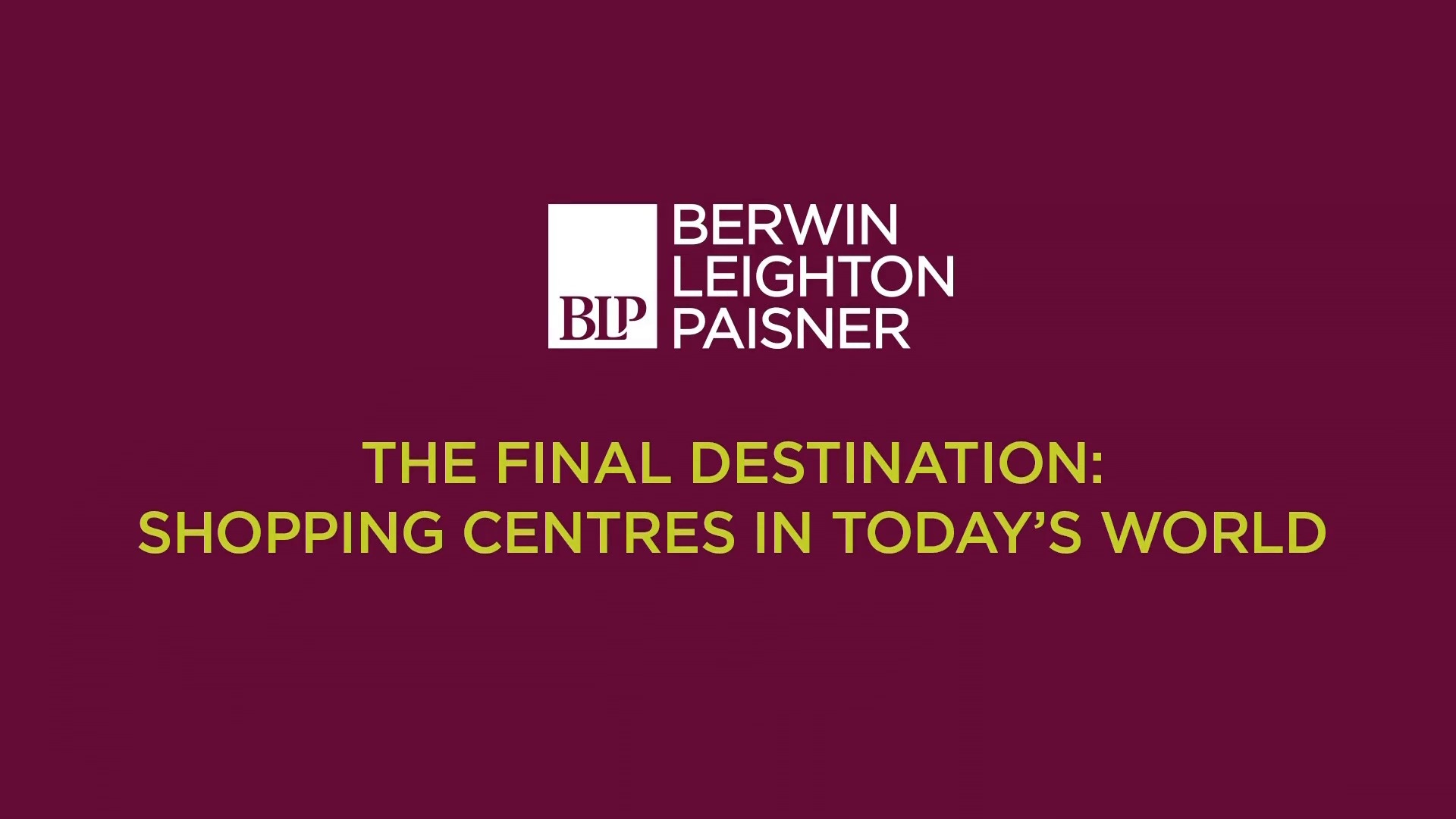 Still image from 'The final destination: shopping centres in today's world' video