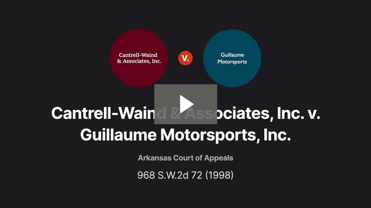 Cantrell-Waind & Associates, Inc. v. Guillaume Motorsports, Inc.