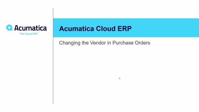 2019 R2 Changing the Vendor in POs