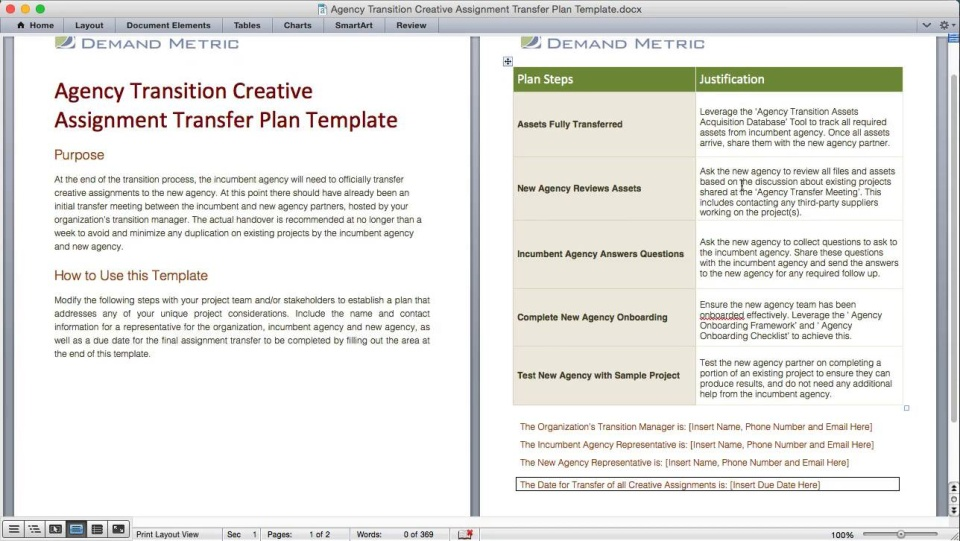 Agency Transition Creative Assignment Transfer Plan Template
