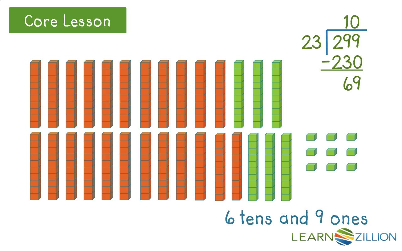 Divide with two-digit divisors using base ten blocks | LearnZillion