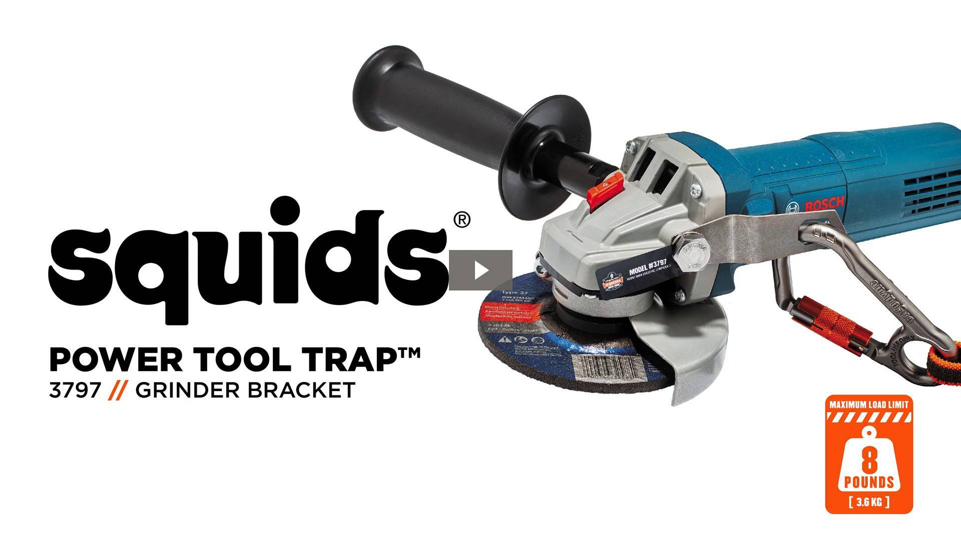 Ergodyne Product Video - Squids<sup>®</sup> 3797 Power Tool Bracket – Grinder Tool Trap<sup>™</sup>