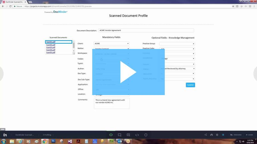 Profiling Scanned Documents into iManage w DocMinder