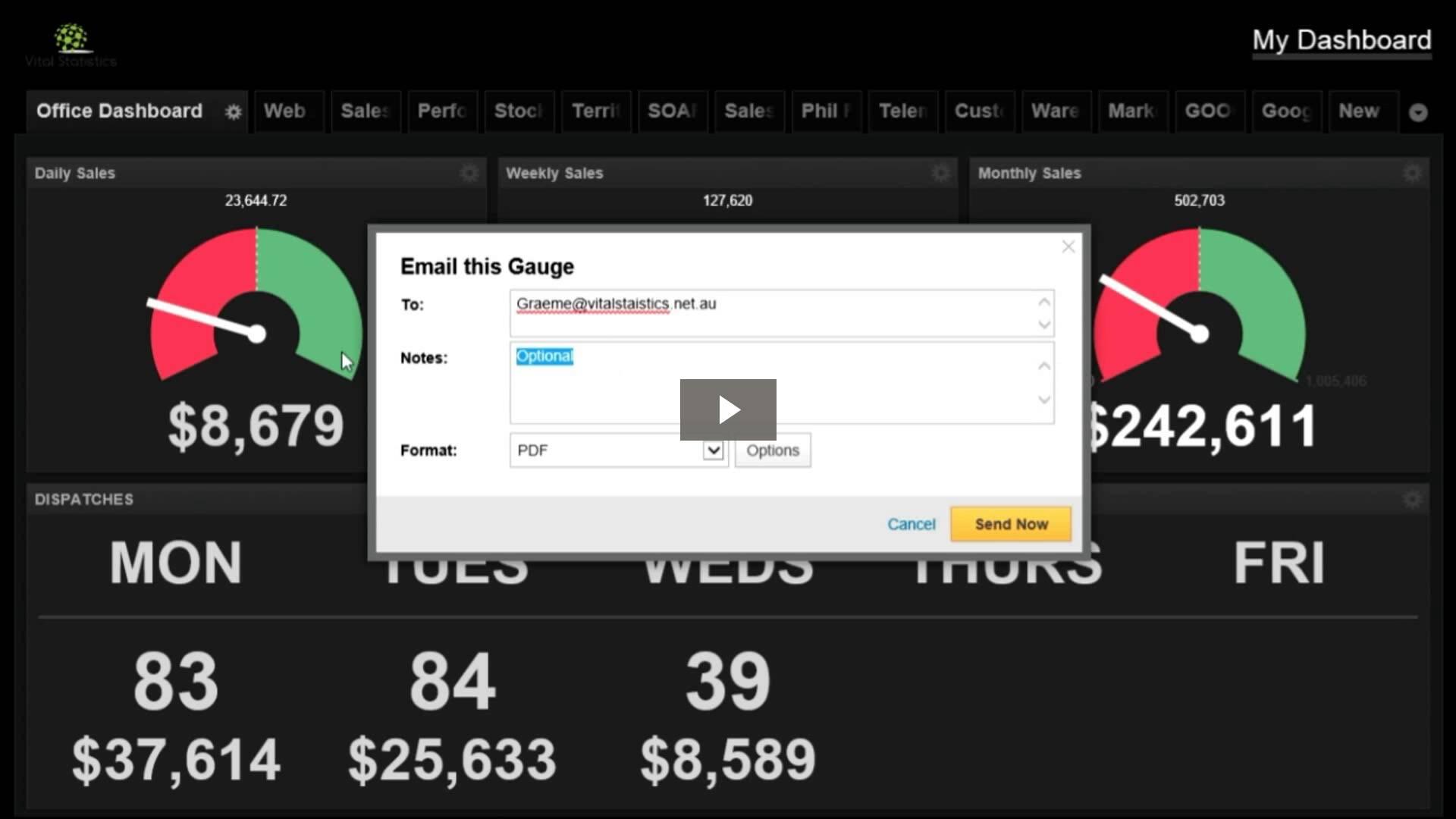 VitalStatistics Dashboard video   emailing  statistics to your staff