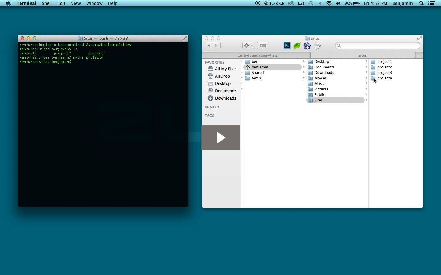Terminal and the Finder
