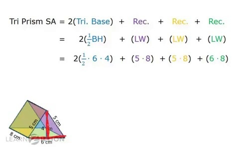 Find The Surface Area Of A Triangular Prism Learnzillion