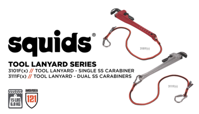 Prevent Dropped Objects with Squids® 3101Fx + 3111Fx Shock Absorbing Tool Lanyards