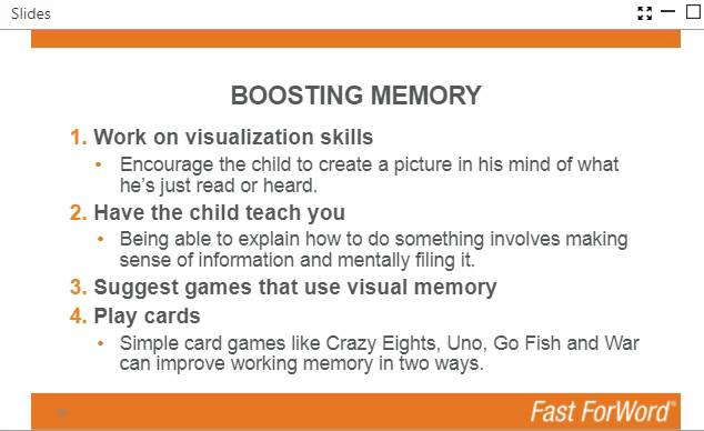 Ways to improve working memory