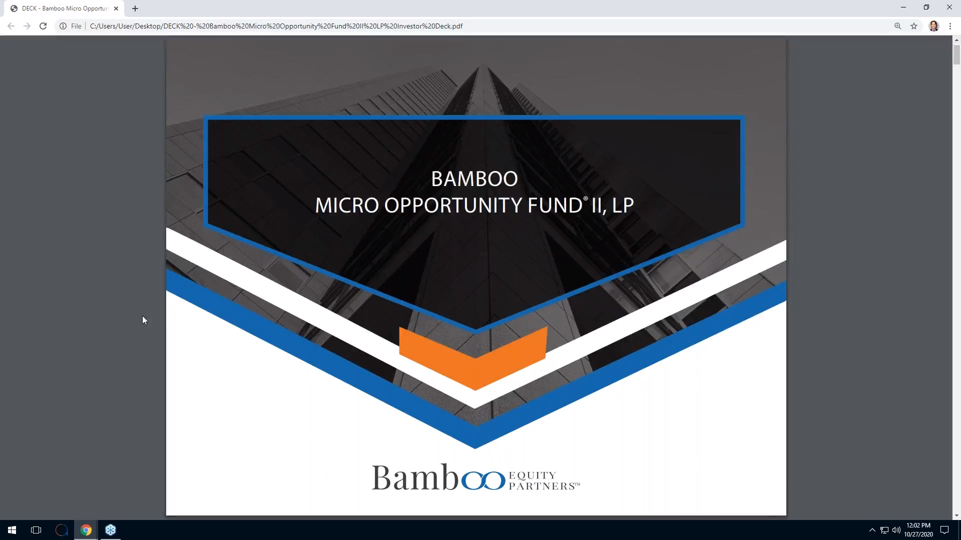 Investment Video - Bamboo Micro Opportunity Fund II, LP