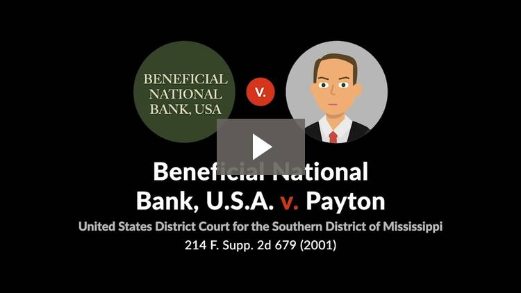 Beneficial National Bank, U.S.A. v. Payton