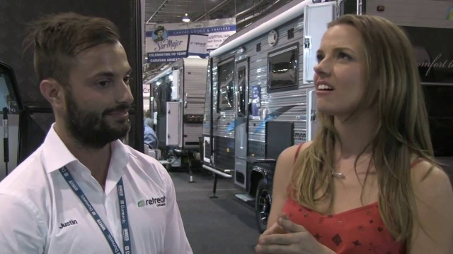 Justin quizzes What's up down under host Ally at the 2015 Adelaide Caravan show