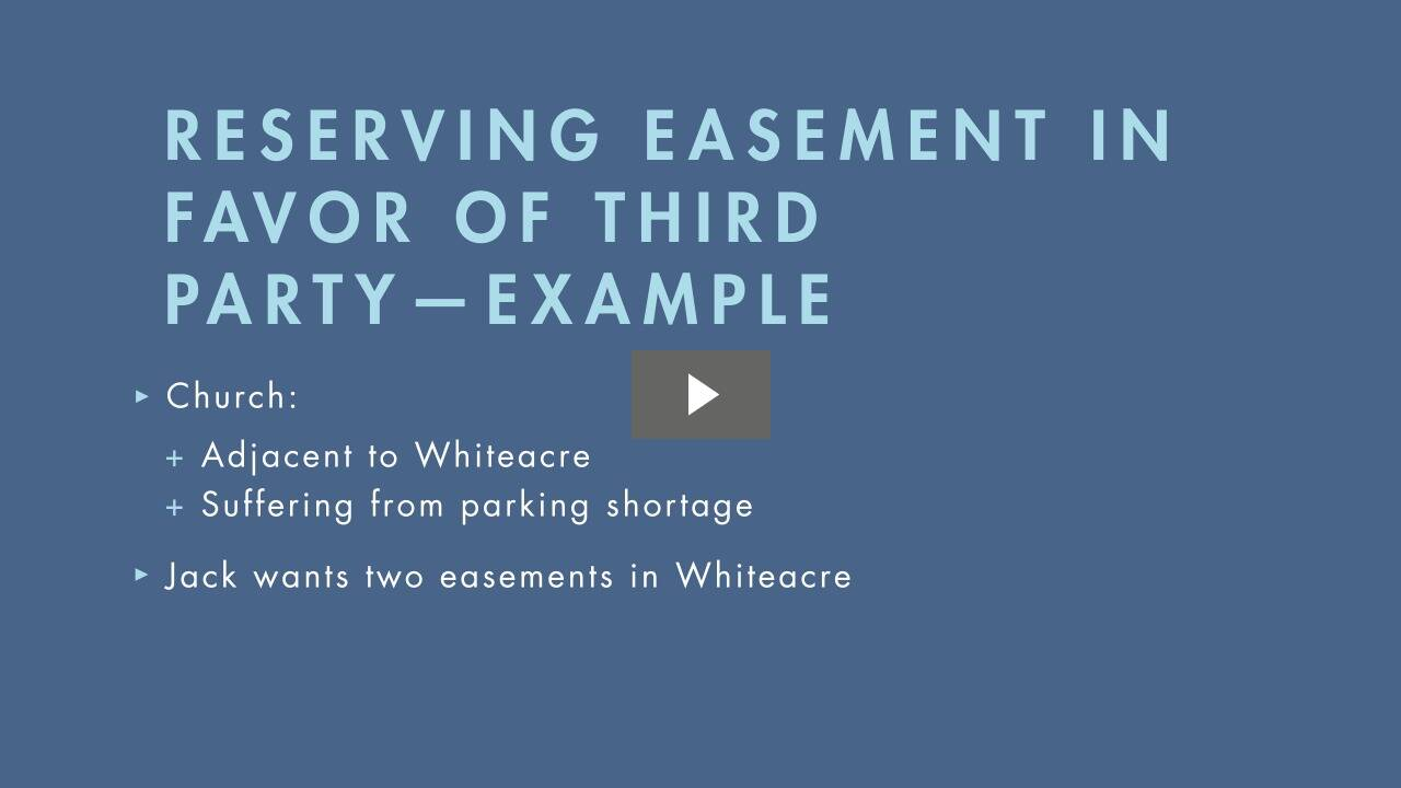 Creation of Easements I