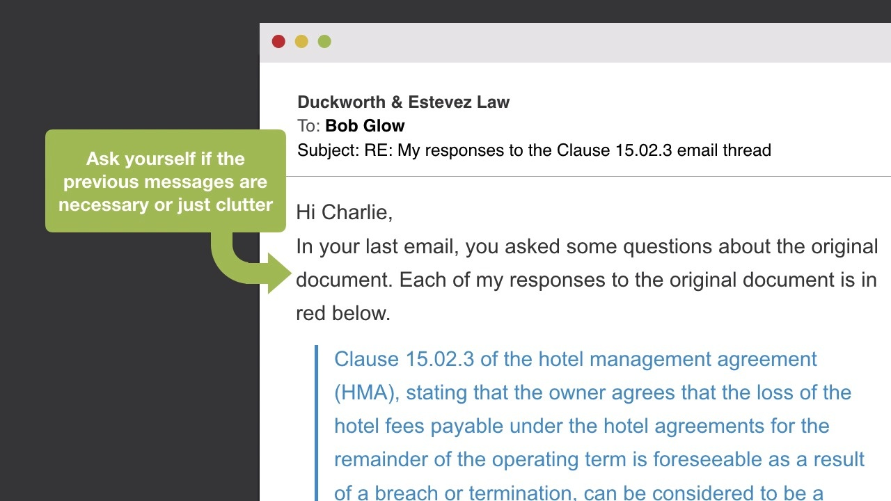 Legal writing and email thumbnail