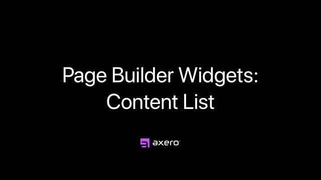 Page Builder Widgets: Content List