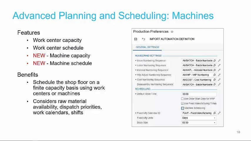 Advanced Planning and Scheduling (2019 R1)