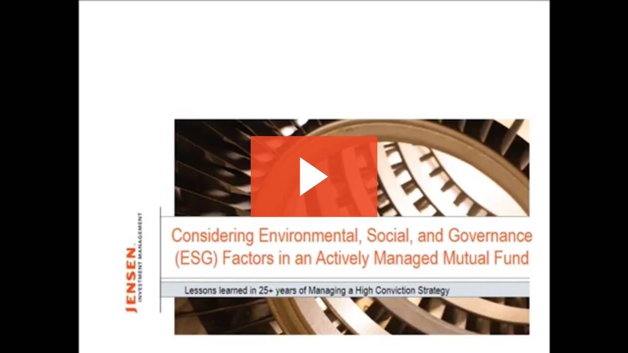 Considering Environmental, Social, and Governance (ESG) Factors in an Actively Managed Mutual Fund: Kevin Walkush Presents at the 2018 Morningstar Investment Conference