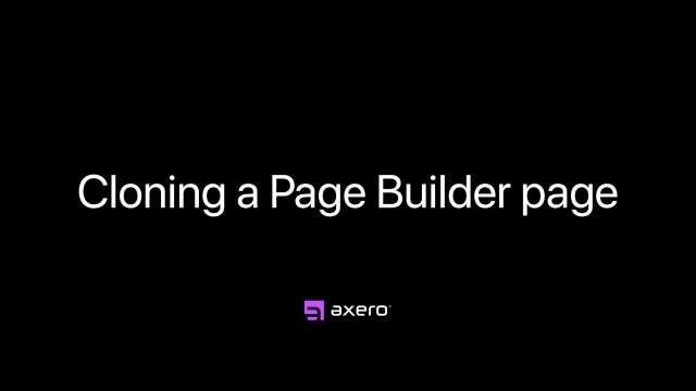 Cloning a Page Builder page