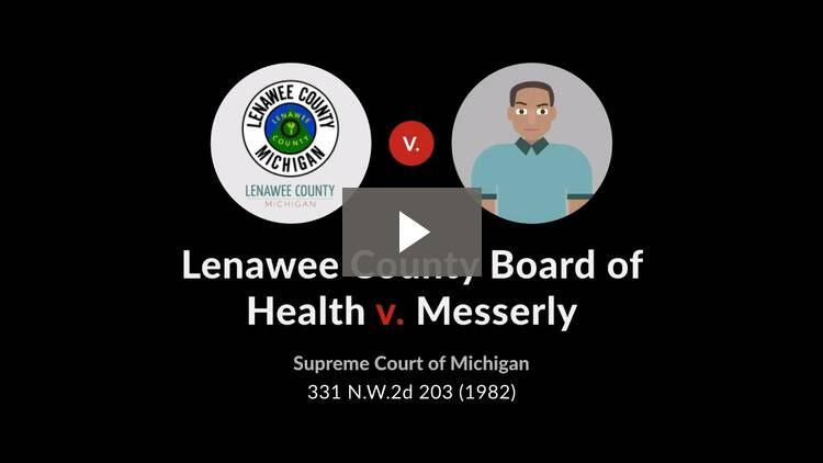 Lenawee County Board of Health v. Messerly