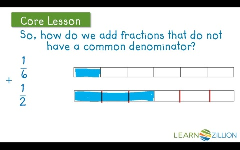 Lesson 10 add and subtract fractions ready common core add fractions with different denominators using fraction bars ccuart Gallery
