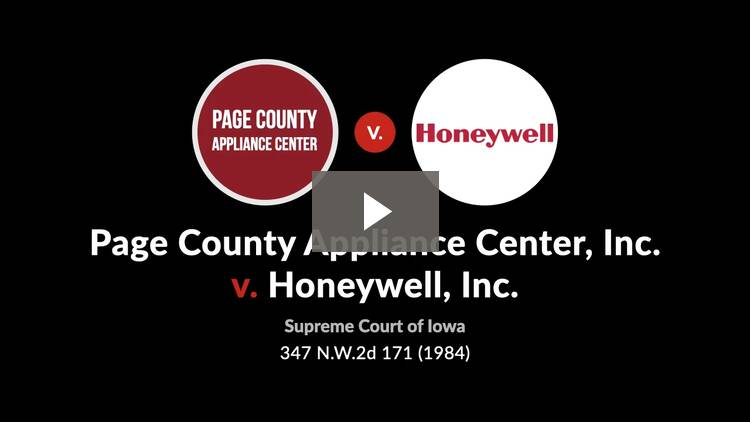Page County Appliance Center, Inc. v. Honeywell, Inc.