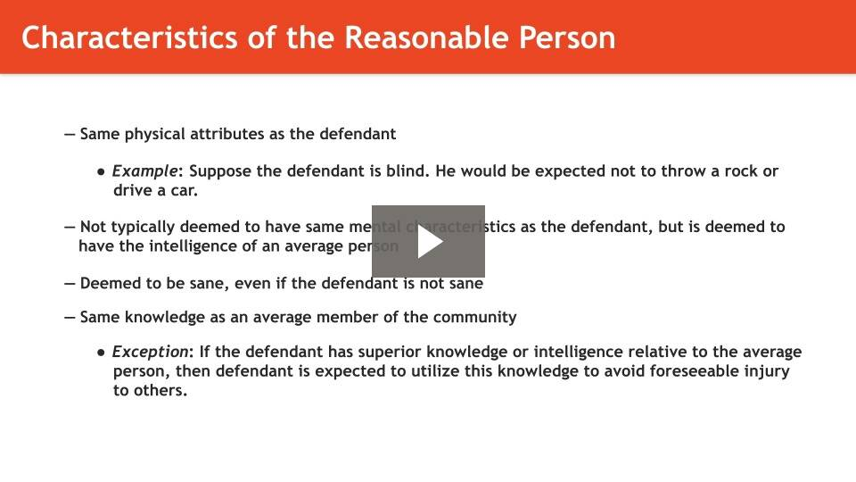 General Reasonable Person Standard