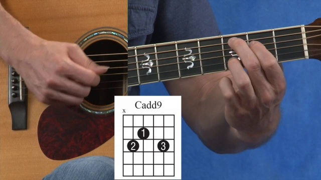 How to Play a Cadd9, G, and D Guitar Chord - Video Lesson