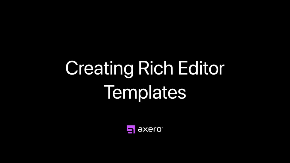 Creating Rich Editor Templates