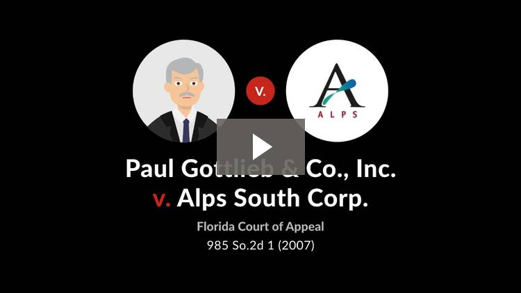 Paul Gottlieb & Co., Inc. v. Alps South Corp.
