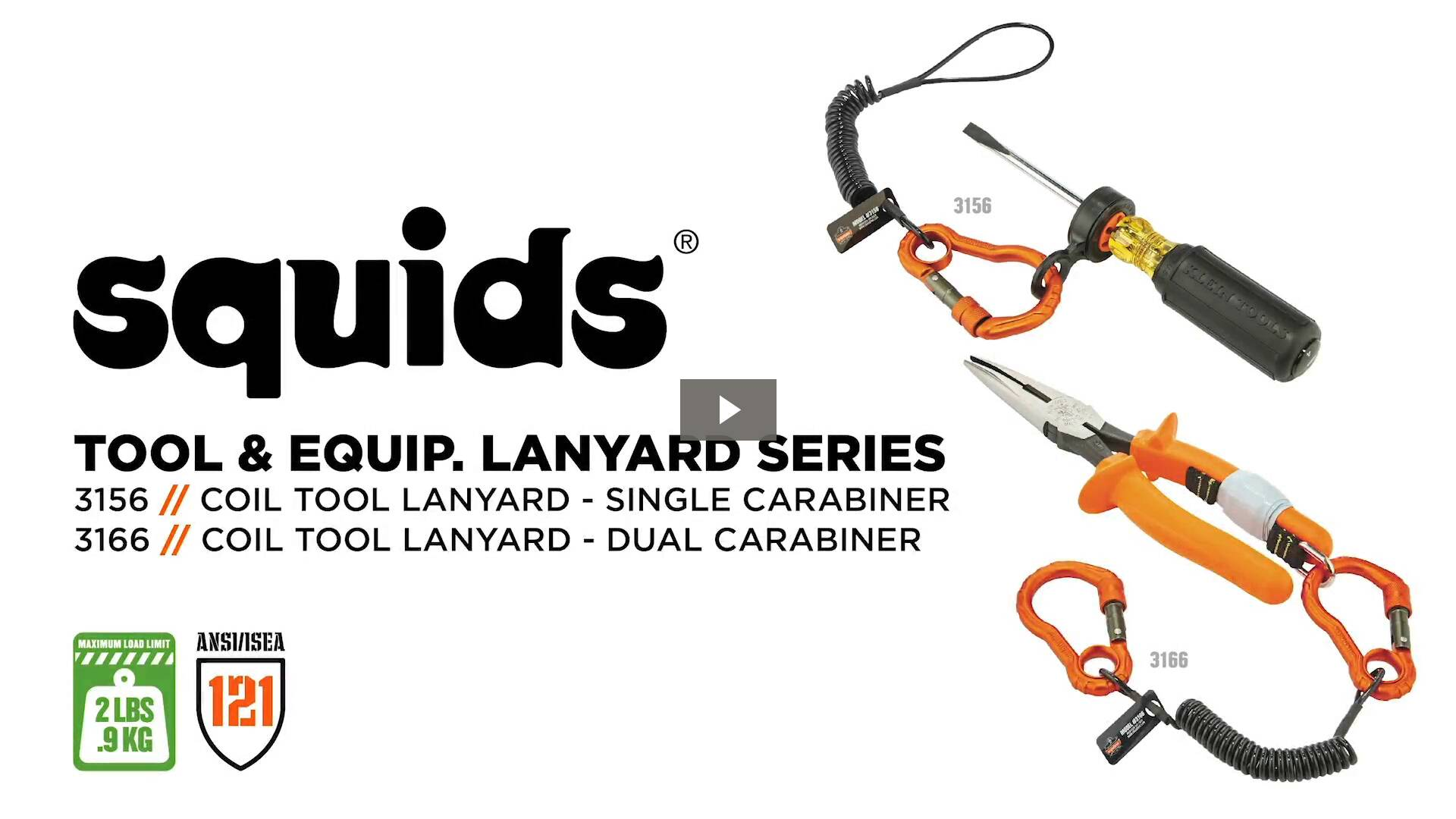 Ergodyne Product Video - Squids<sup>®</sup> 3156 Coil Tool Lanyard with Single Carabiner – 2lbs / 0.9 kg