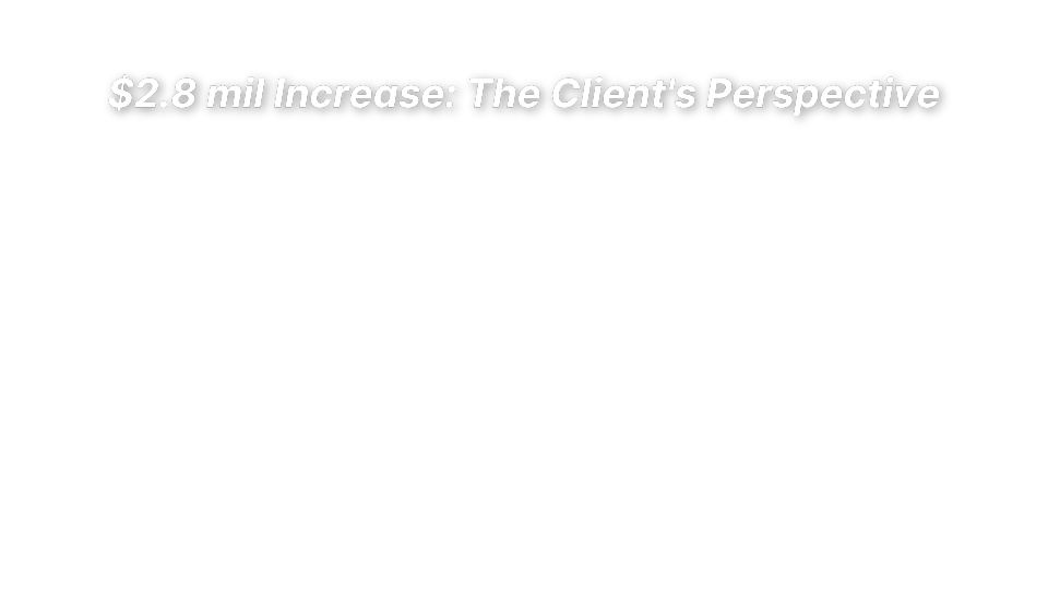 $2.8 mil Increase: The Client's Perspective