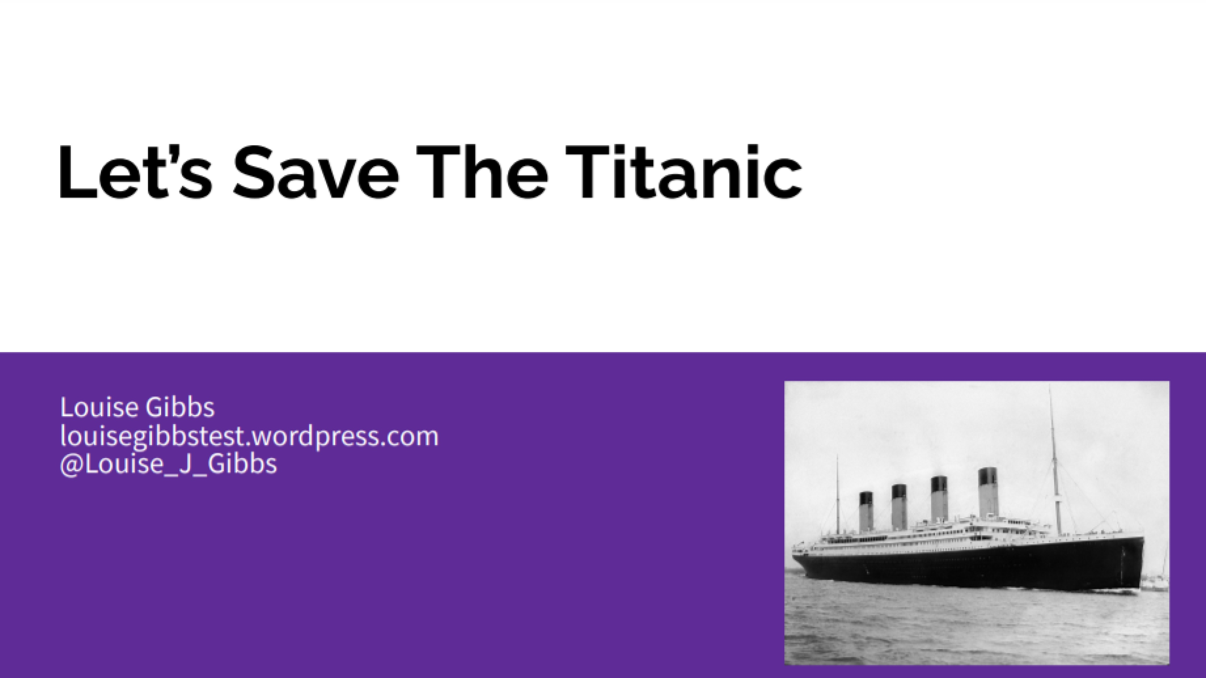 Let's Save The Titanic - Louise Gibbs