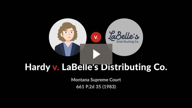 Hardy v. LaBelle's Distributing Co.