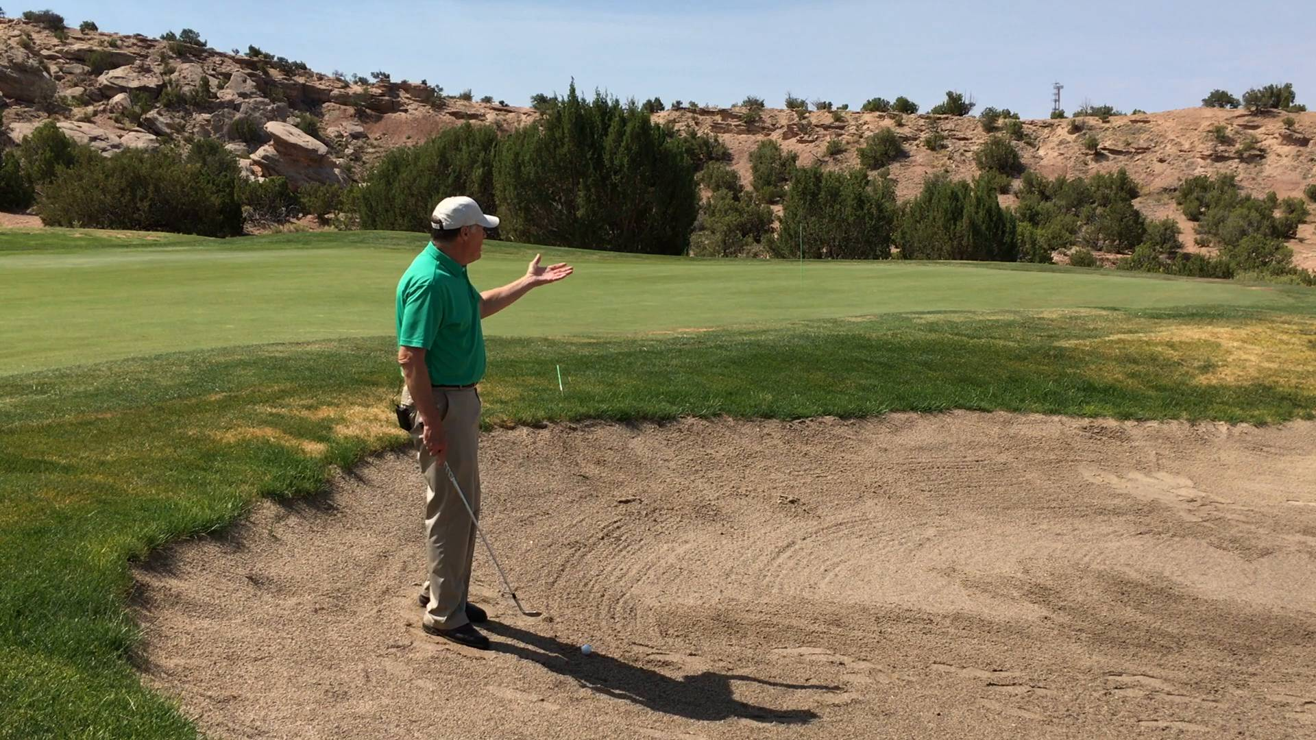 Hit a Bunker Shot with a Side Hill, Ball Below Your Feet