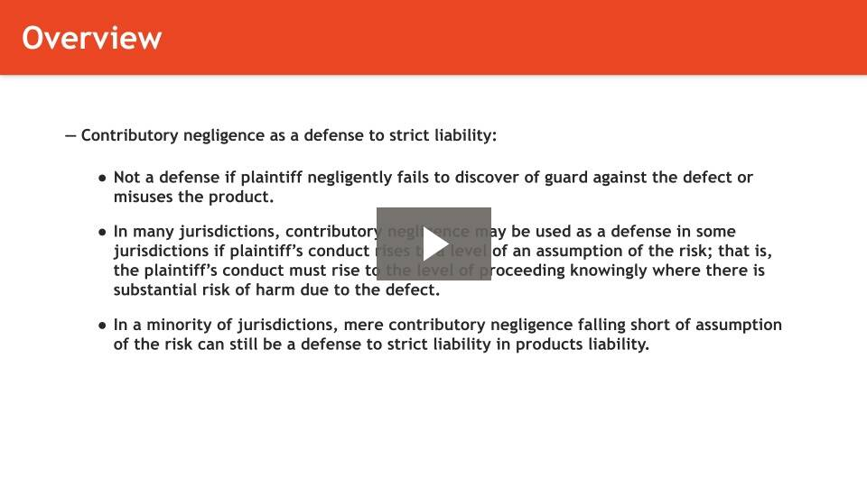 Defenses to Product Liability