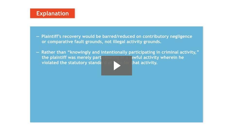 Plaintiff's Illegal Activity