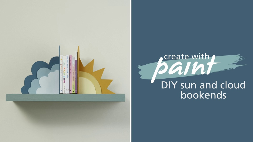 DIY sun and cloud bookends