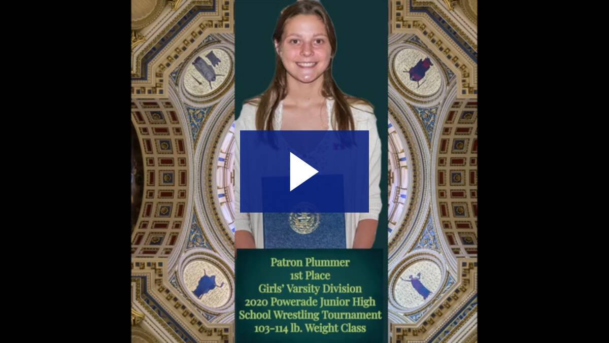 6/9/21 - Senator Langerholc Introduces Patron Plummer, PA State Girls Wrestling Champion from Bedford.