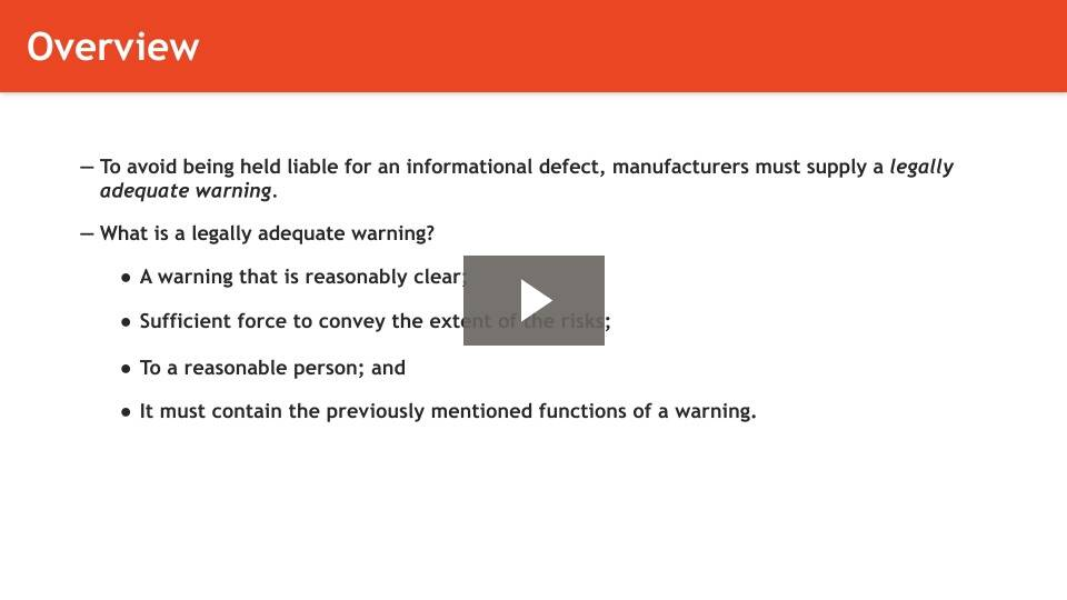 Warning or Informational Defects
