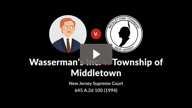 Wasserman's, Inc. v. Township of Middletown