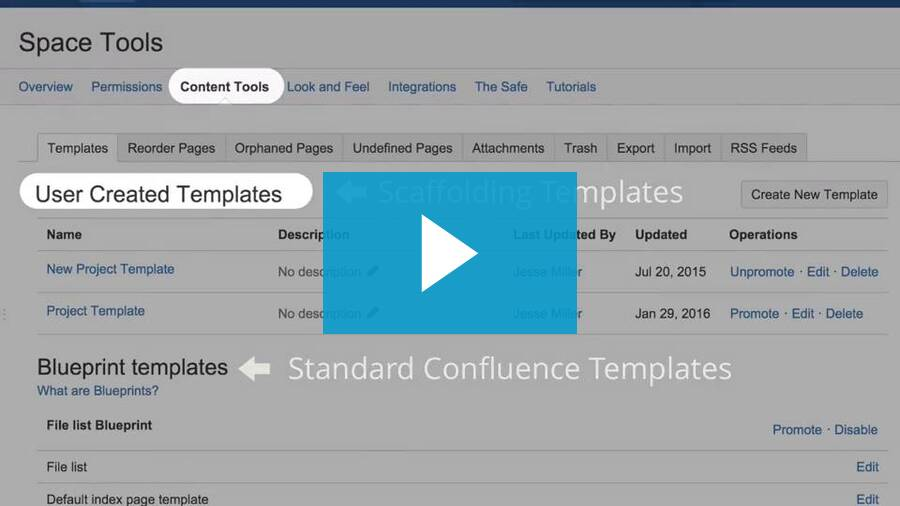 Scaffolding and Reporting for Confluence